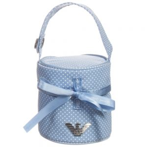 ARMANI BABY Baby Boys Blue Spotty Dummy Bag