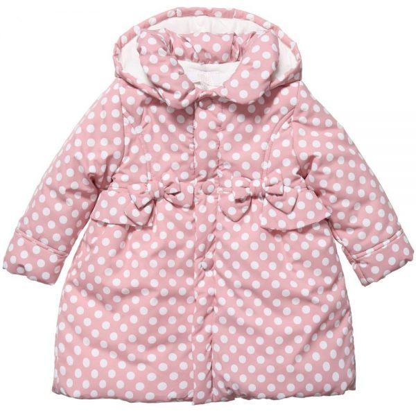 ALETTA Baby Girls Pink Polka Dot Coat