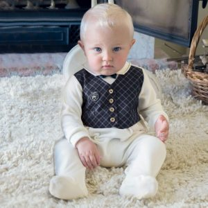 ALETTA Babygrow with Tartan Waistcoat 1