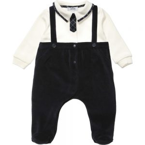 ALETTA Blue Velour One Piece Babygrow