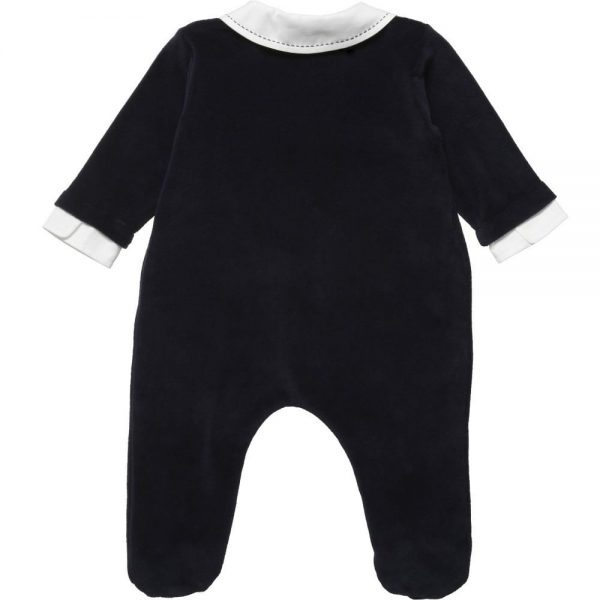 ALETTA Blue Velour Tuxedo Babygrow 1