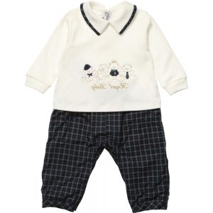 ALETTA Boys Ivory and Tartan Romper