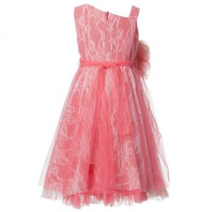 ALETTA Coral Pink Tulle and Lace Dress 1