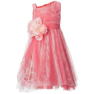 ALETTA Coral Pink Tulle and Lace Dress