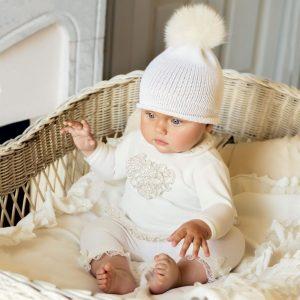 ALETTA Girls Ivory Cotton 2 Piece Babygrow 1