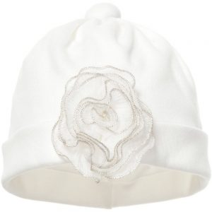 ALETTA Ivory Cotton Baby Hat with Silk Flowers