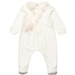 ALETTA Ivory Cotton Babygrow with Silk Frill