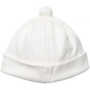 ALETTA Ivory Cotton Jersey Lace Trim Hat 1
