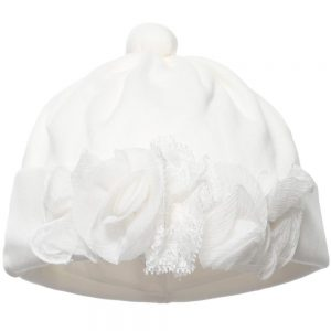 ALETTA Ivory Cotton Jersey Lace Trim Hat