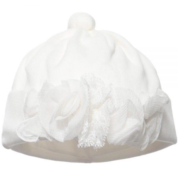 ALETTA Ivory Cotton Jersey Lace Trim Hat