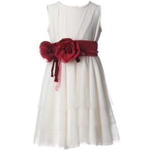 ALETTA Ivory Tulle Dress & Red Rose Sash