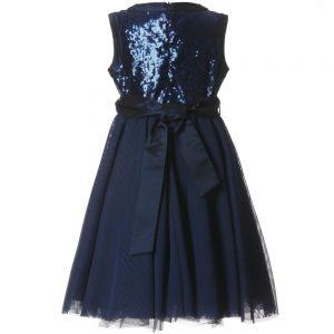 ALETTA Navy Blue Sequin & Tulle Dress 1