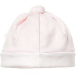 ALETTA Pale Pink Cotton Baby Hat with Silk Flowers 1