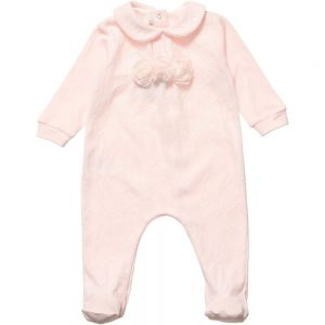 ALETTA Pink Cotton and Lace Babygrow