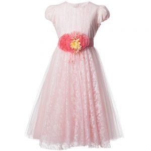 ALETTA Pink Tulle and Lace Dress