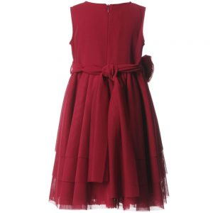 ALETTA Red Tulle Dress & Rose Sash 1