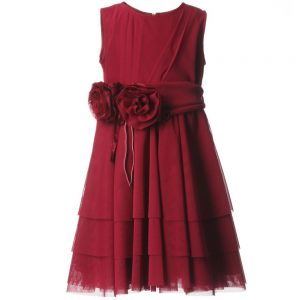 ALETTA Red Tulle Dress & Rose Sash