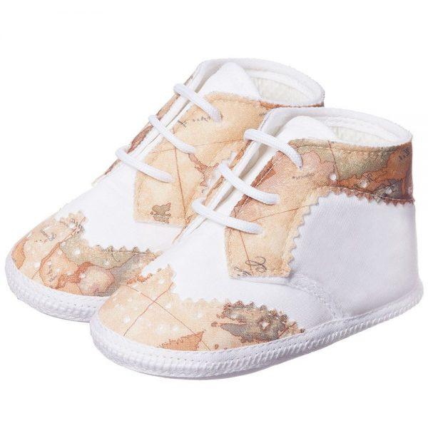 ALVIERO MARTINI Baby Boys White Cotton Pre-walker Shoes 1