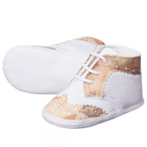 ALVIERO MARTINI Baby Boys White Cotton Pre-walker Shoes