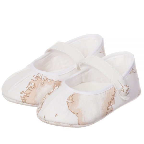 ALVIERO MARTINI Baby Girls Ivory Vintage Map Pre-Walker Shoes 1