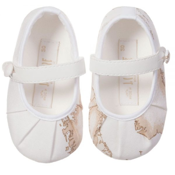 ALVIERO MARTINI Baby Girls Ivory Vintage Map Pre-Walker Shoes 3