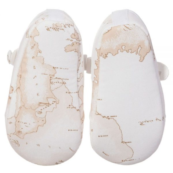 ALVIERO MARTINI Baby Girls Ivory Vintage Map Pre-Walker Shoes 4