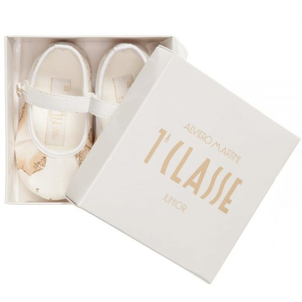 ALVIERO MARTINI Baby Girls Ivory Vintage Map Pre-Walker Shoes 5