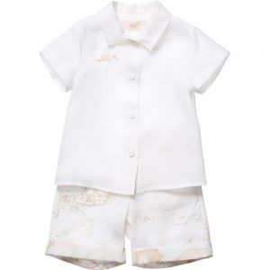 ALVIERO MARTINI Baby Ivory Cotton Shirt & Vintage Map Shorts