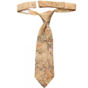 ALVIERO MARTINI Beige Cotton Map Print Ready-Tie 1