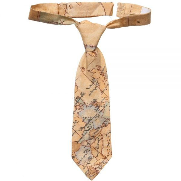 ALVIERO MARTINI Beige Cotton Map Print Ready-Tie