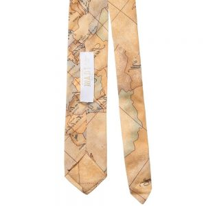 ALVIERO MARTINI Beige Cotton Map Print Tie 1