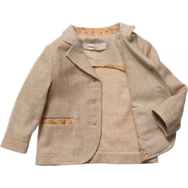 ALVIERO MARTINI Beige Herringbone Tweed Blazer Jacket 2