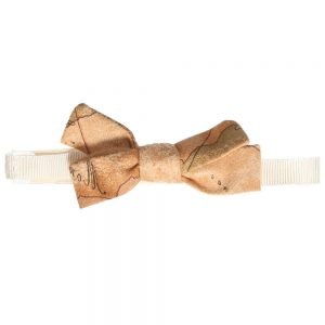 ALVIERO MARTINI Boys Beige Map Print Bow Tie