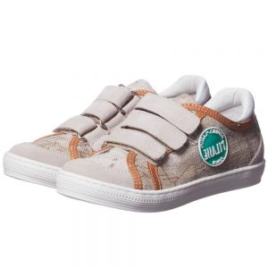 ALVIERO MARTINI Boys Beige Map Print Velcro Trainers
