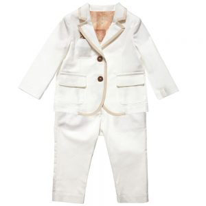 ALVIERO MARTINI Boys Ivory Cotton Suit (2 Piece)