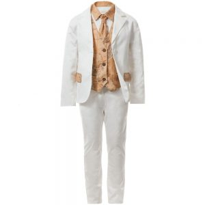 ALVIERO MARTINI Boys White Cotton Tailored Suit (5 Piece)