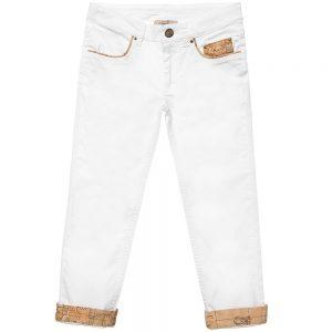 ALVIERO MARTINI Girls White Cotton Trousers