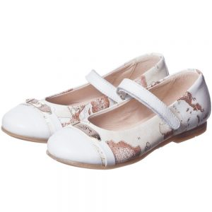ALVIERO MARTINI Girls White Leather Map Print Pumps