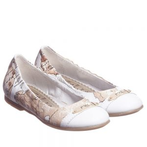 ALVIERO MARTINI Girls White Leather Map Print Shoes