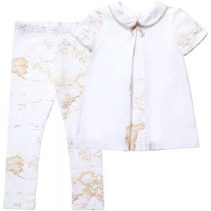 ALVIERO MARTINI Girls White Map Print Top & Leggings Set 1