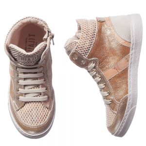 ALVIERO MARTINI Gold Leather Map Print High-Top Trainers 1