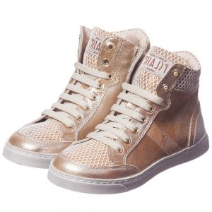 ALVIERO MARTINI Gold Leather Map Print High-Top Trainers