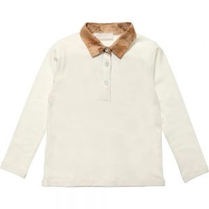 ALVIERO MARTINI Ivory Cotton Top with Map Collar