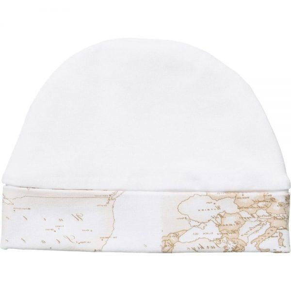 ALVIERO MARTINI White Cotton Baby Hat with Vintage Map Trim 1