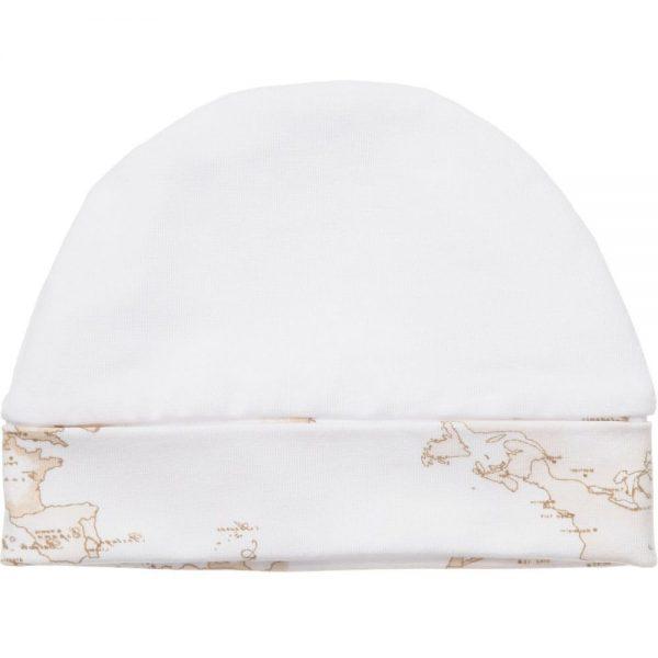 ALVIERO MARTINI White Cotton Baby Hat with Vintage Map Trim