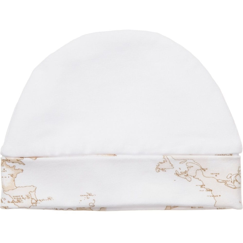 ALVIERO MARTINI White Cotton Baby Hat with Vintage Map Trim ... edcc3ce1377