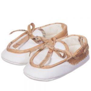 ALVIERO MARTINI White Cotton Fabric Baby Moccasin 1
