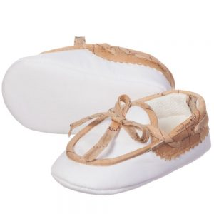 ALVIERO MARTINI White Cotton Fabric Baby Moccasin