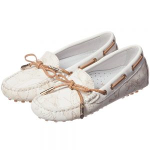 ALVIERO MARTINI White Leather Map Print Moccasins