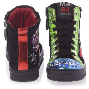 AM66 Black Leather Studded High-Top Trainers 1